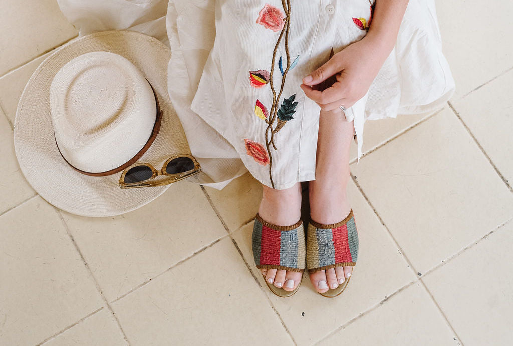 Jen in Artemis Kilim Shoes- Sandals