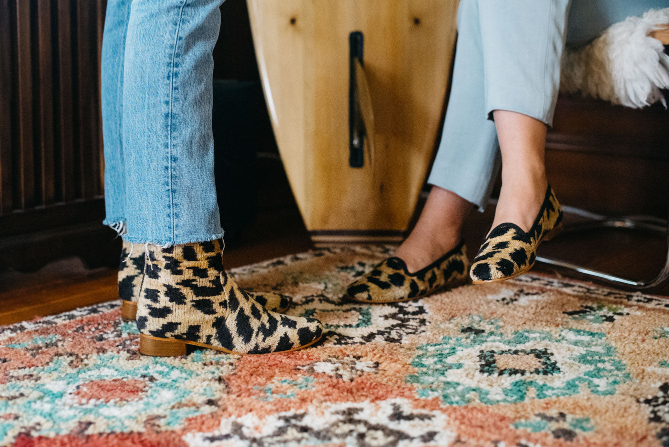 leopard print velvet boots and loafers