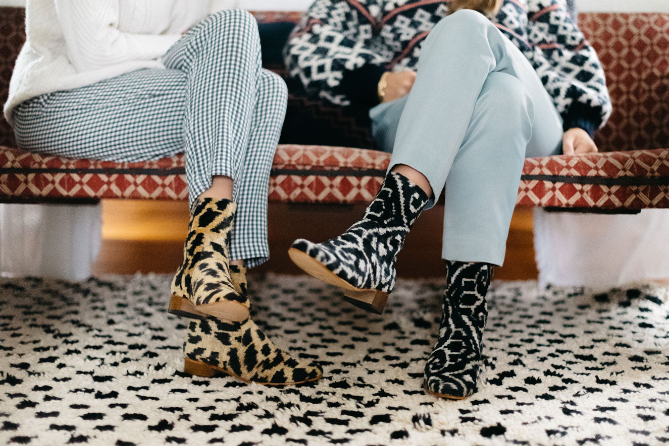 Our leopard print and black and white velvet boots worn by Milicent and her sister.