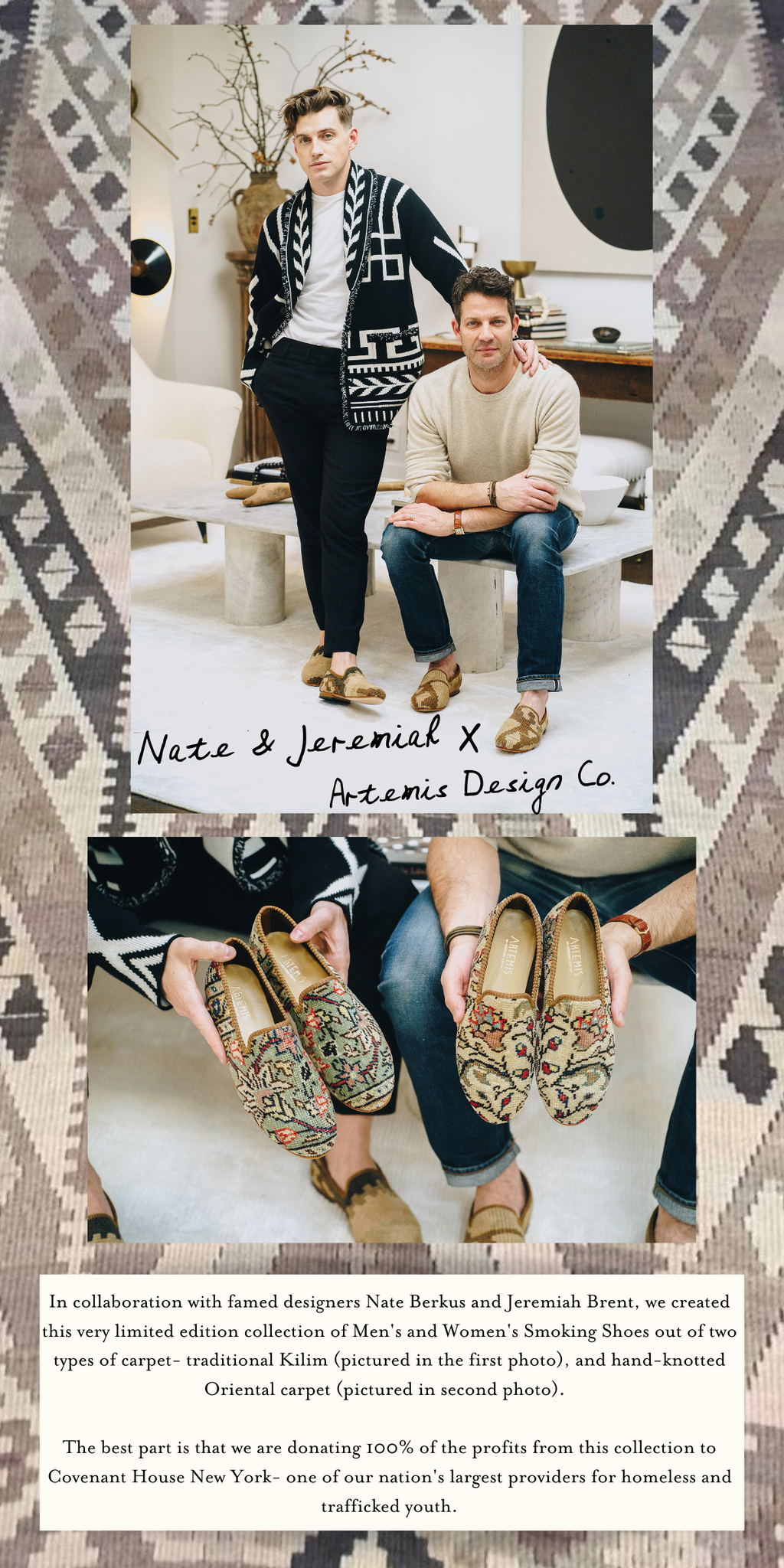 nate and jeremiah carpet shoes and kilim shoes