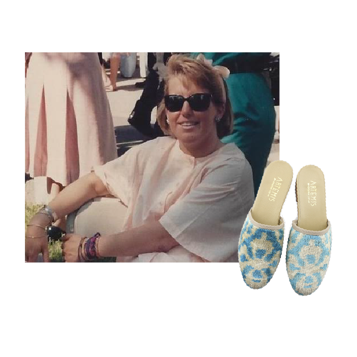 carsons mom with blue and white velvet slides.