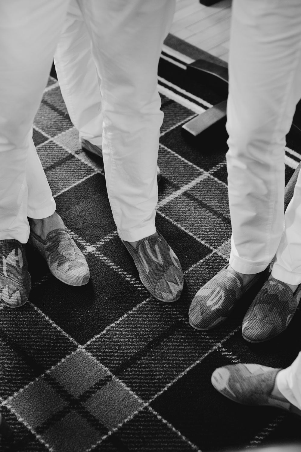 Groomsmen of the Pardy wedding wearing their kilim loafers.