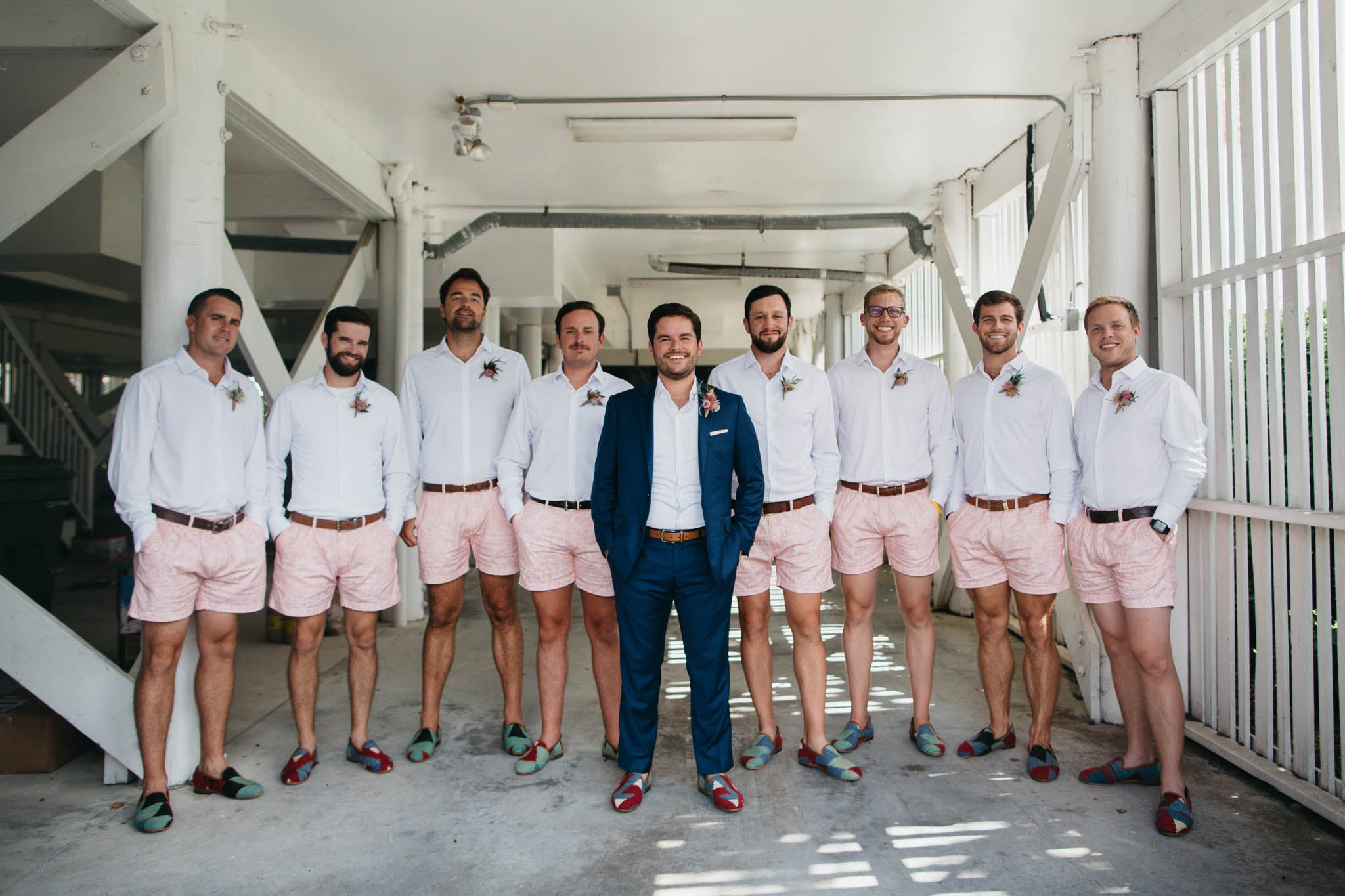 Groomsmen of the craddock wedding wearing mens kilim loafers