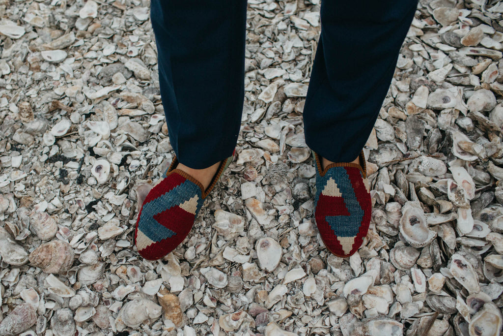 The craddock wedding, groomsmen in a bespoke collection of mens kilim loafers