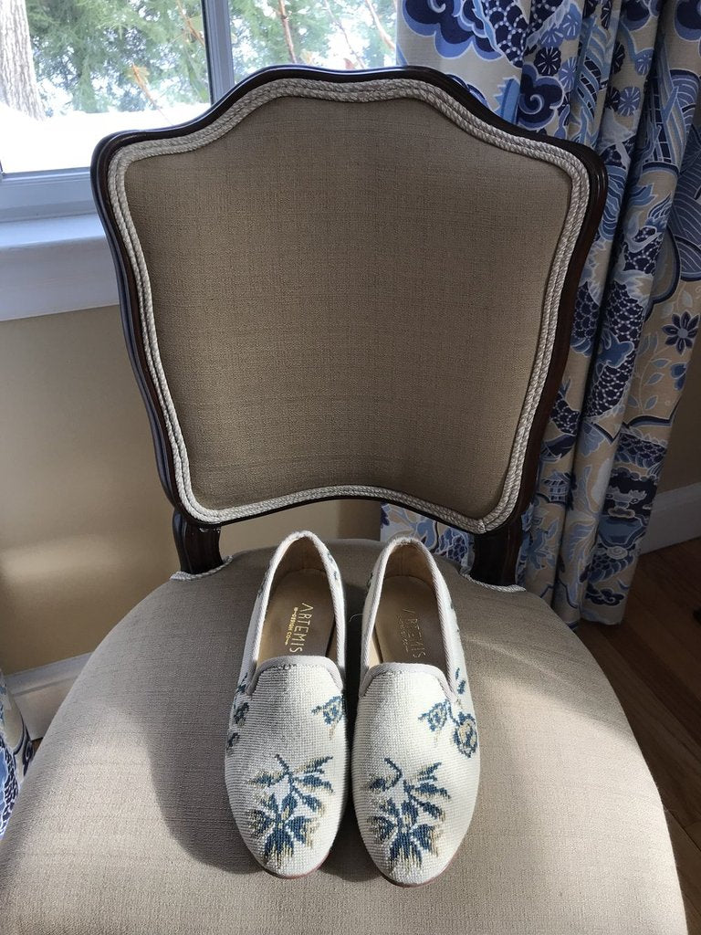We have created a completely one-of-a-kind pair of shoes from a friends chair upholstery that her grandmother had woven by hand. It had several stains on it so she wanted to reupholster the chair, but not lose the beautiful parts of her grandmothers work.  We created a completely custom pair of smoking shoes and a small handbag for her.