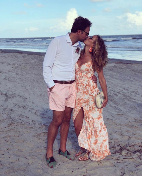 Marlaina and Nick kissing on the beach during their honeymoon, nick is wearing mens kilim loafers