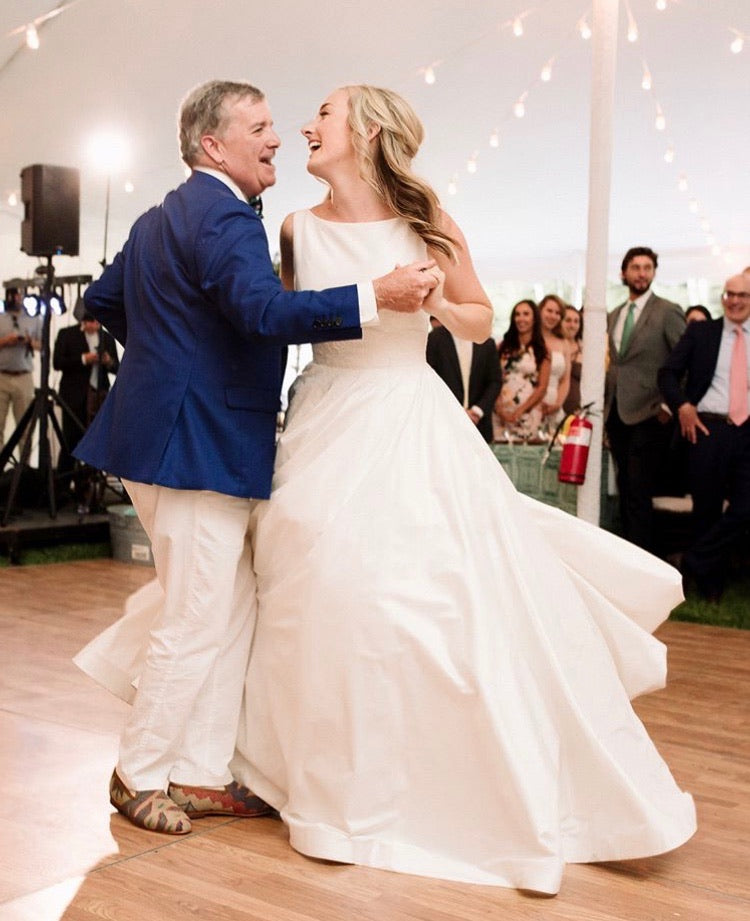 christina dancing with her dad, her dad is wearing mens kilim loafers