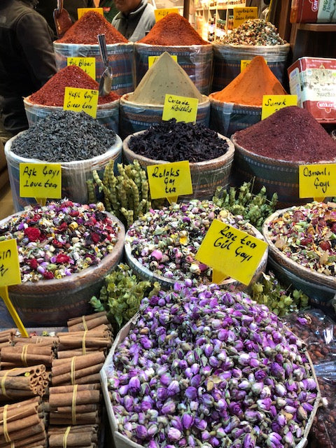 Assorted spices and laid out in Istanbul food market.