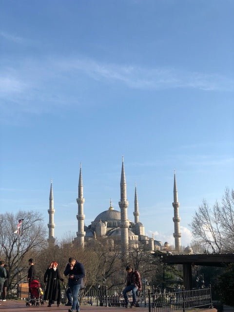 Outside Blue Mosque (Sultan Ahmet Camii) in Istanbul.