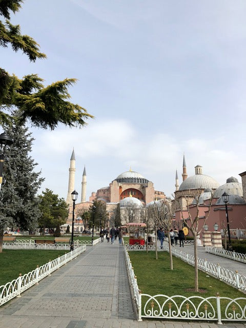Walking up to the Aya Sofrya in Istanbul, Turkey.