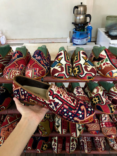Kilim shoes on the drying rack