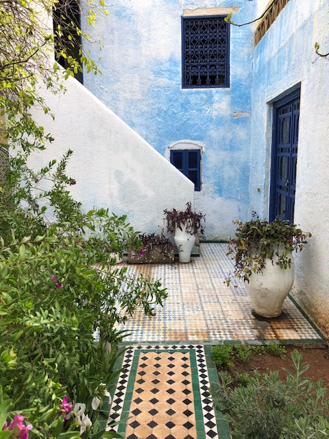 Greenery outside blue home in Fez. Assorted plants surrounding and atop black, tan and white tiled entryway.