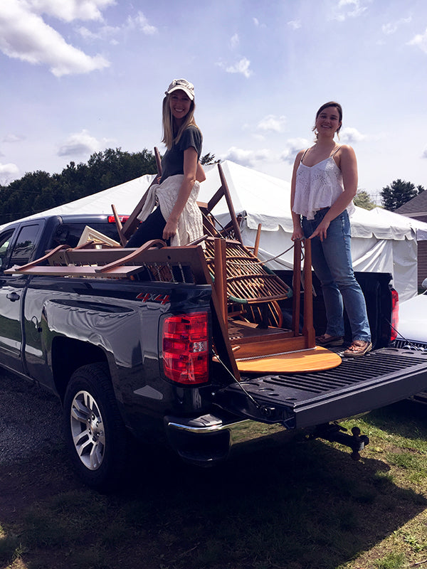 milicent unloading truck for brimfield antique show.