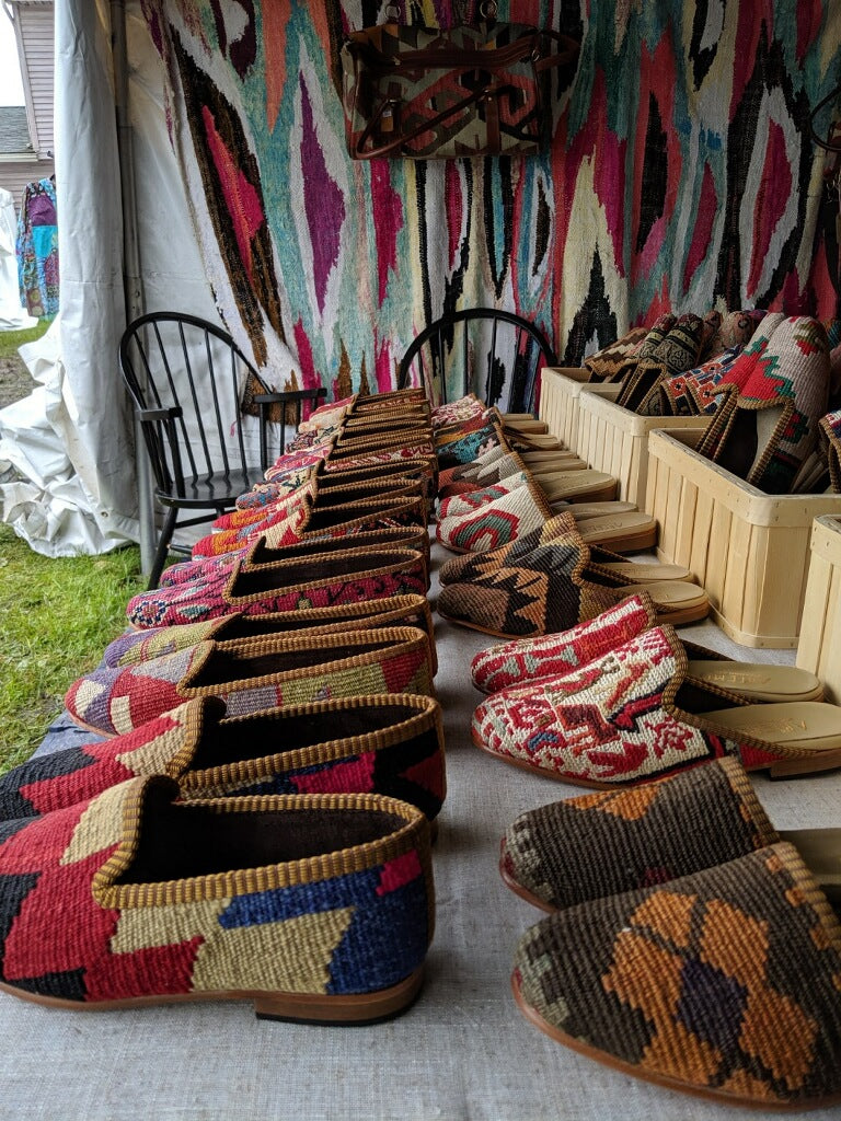 Kilim shoes and Kilim loafers at brimfield antiques fair