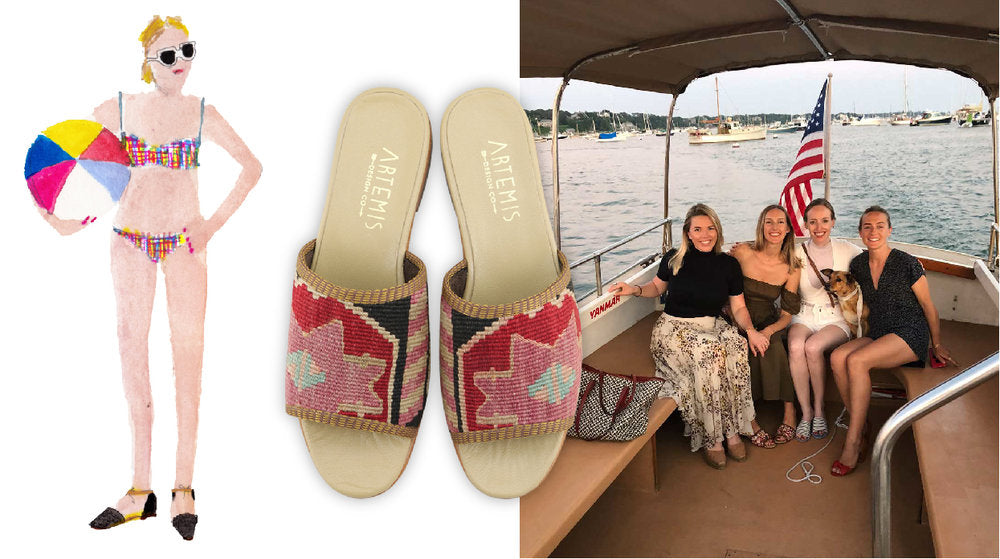 Milicent with family on boat in Edgartown Harbor in womens kilim sandals next to illustration of girl in bathing suit holding a beach ball in raffia loafers.