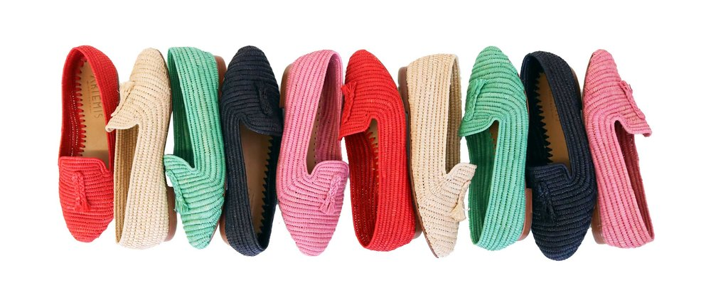 womens raffia loafers in nantucket red, tan, pink, green and black.