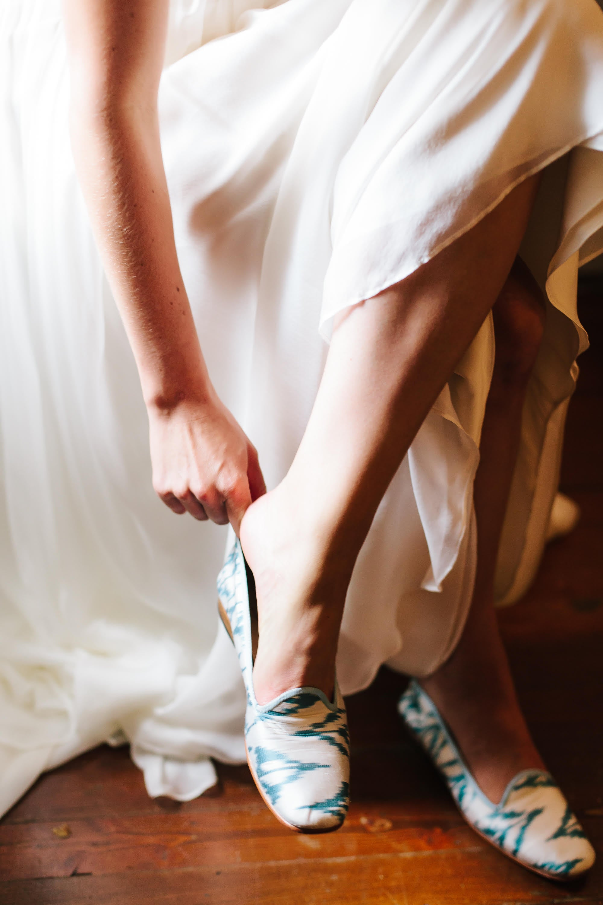 Riley Sheehey getting ready for her wedding day in our silk loafers