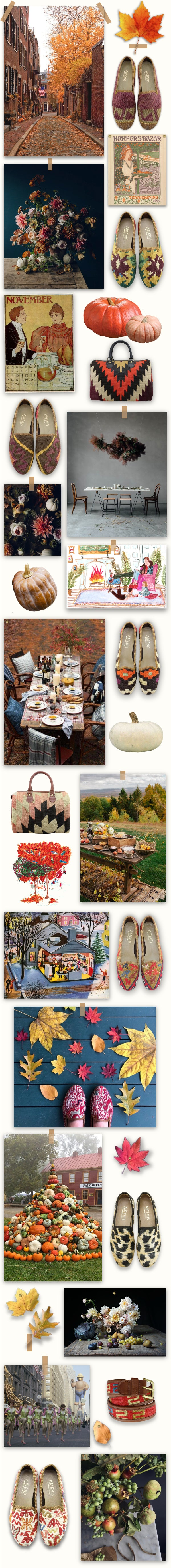 Our November mood board is made up of images that inspire us and pairs of our kilim shoes that we love.