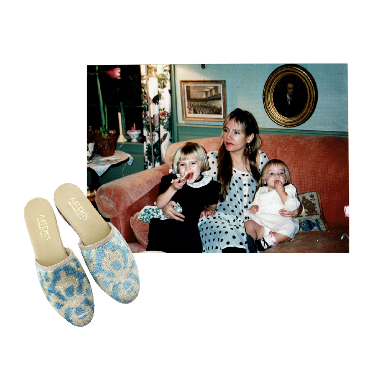 milicent armstrong with her mom and sister paired with velvet slides.