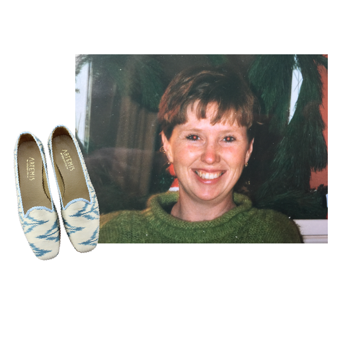 alexandras mom with blue and white silk loafers.