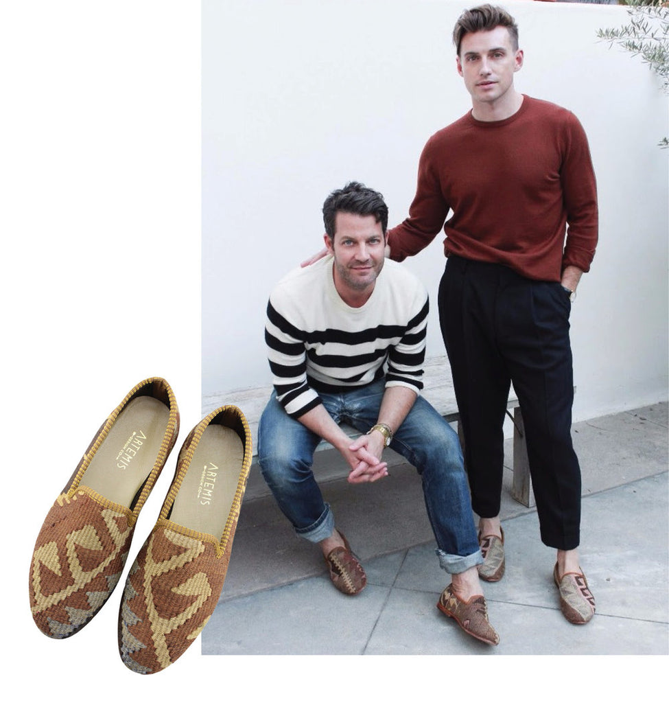 nate berkus and jeremiah brent with neutral toned mens kilim loafers