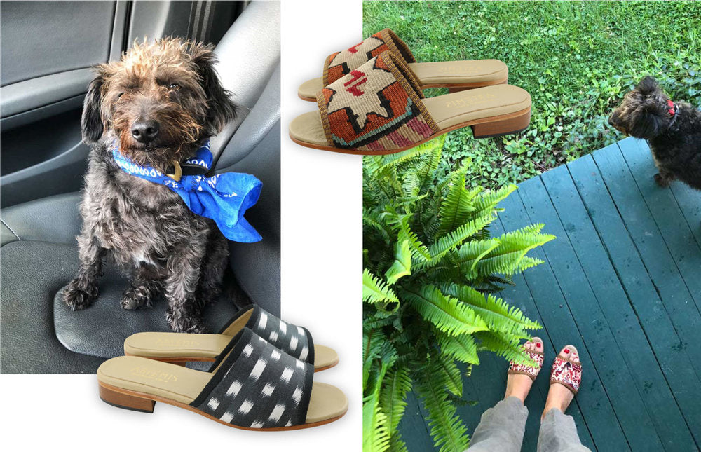on left, photo of Milicents dog, Gerry with blue handkerchief on. on right, photo of milicents feet with womens kilim sandals in sumak style and Jerry in background. Womens wilk ikat sandals and womens kilim sandals placed in front of photos.