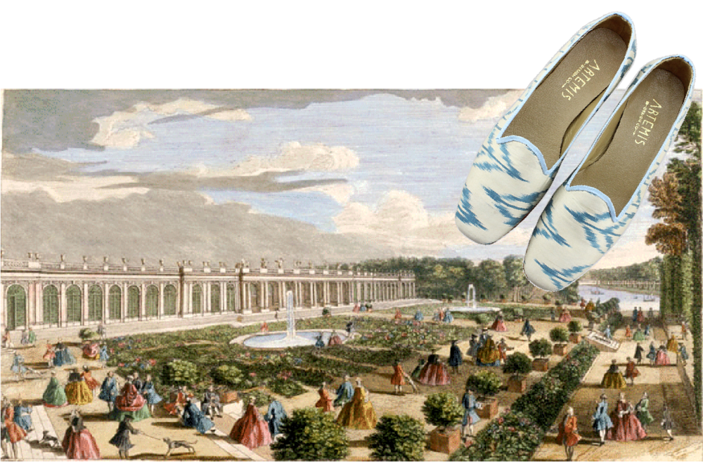 white and blue silk loafers with french revolution painting.