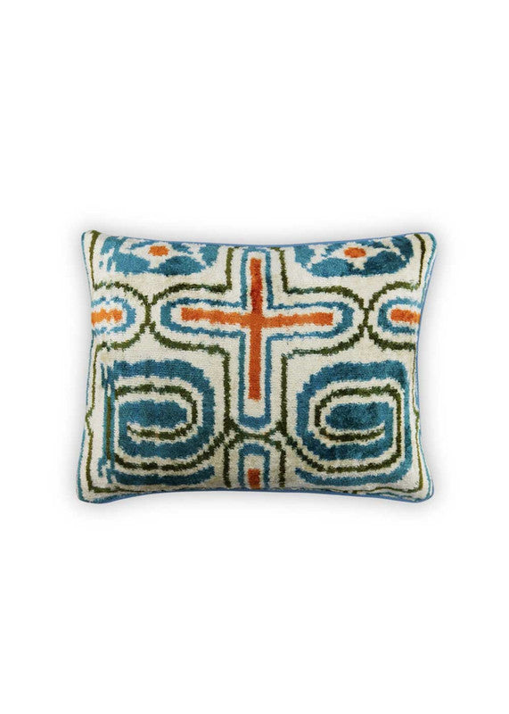 Load image into Gallery viewer, goldie-velvet-ikat-pillow-rectangular-ZVPLBD-1902