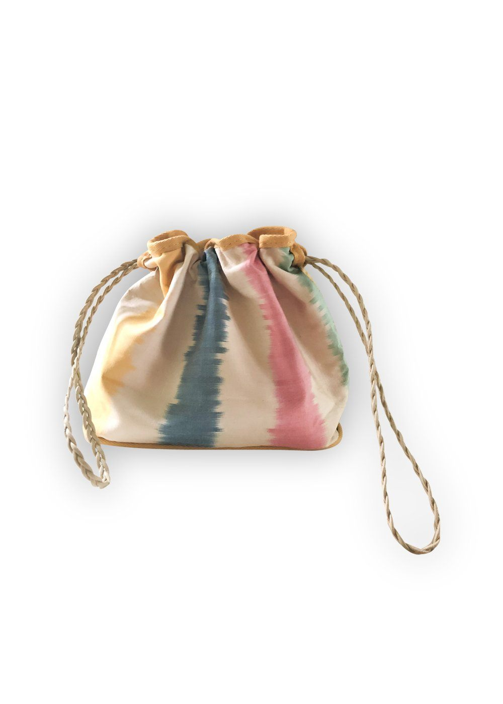 Accessories - Candy Stripe Silk Drawstring Pouch