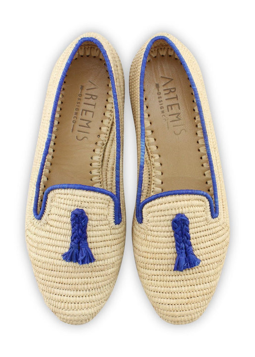 Archived Women's - Raffia Loafer - Natural With Blue Trim