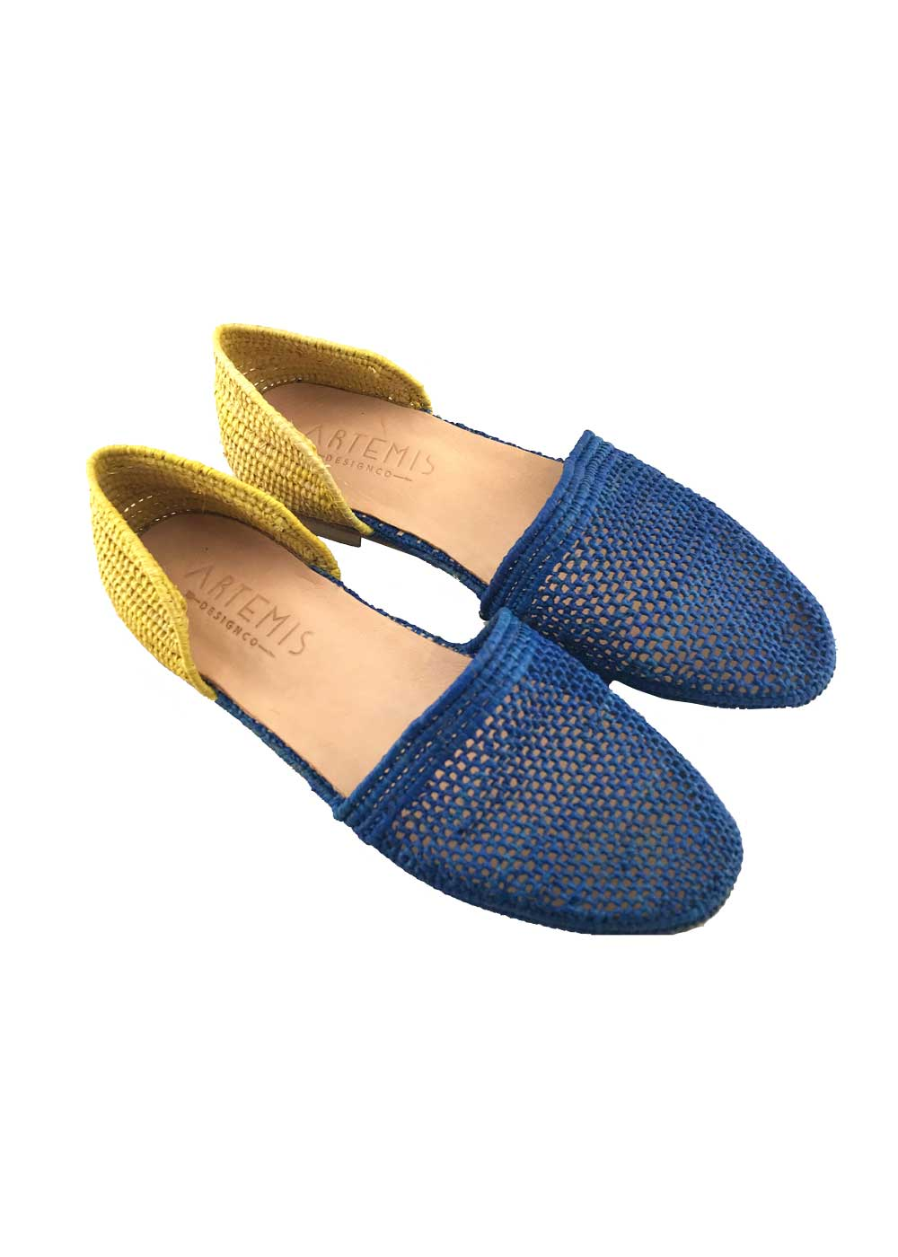 Archived Women's - Size 38 (US 8-8.5) Blue/Yellow Raffia Orsay Sandals