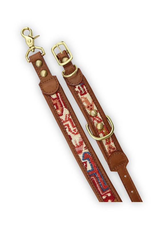 Load image into Gallery viewer, Bazaar - Sumak Kilim Dog Collar & Leash, Small