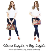 Load image into Gallery viewer, classic-kilim-duffle-handbag-vs-baby-duffle-scale