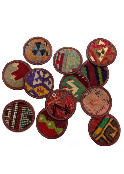 Miscellany - Kilim Coasters - Brown Leather, Set/4