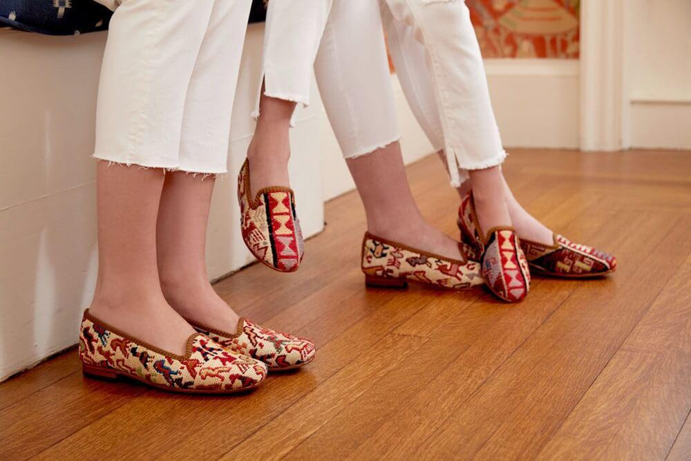 Load image into Gallery viewer, close-up-sumak-kilim-loafers-on-wood-floor