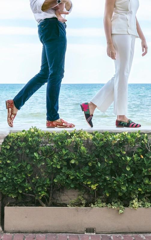 Load image into Gallery viewer, mens-sumak-kilim-loafers-walking-on-ivy-wall