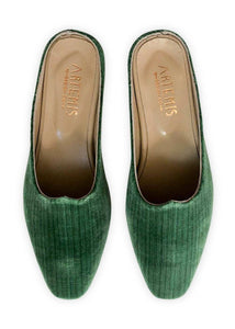 Women's Shoes - Charlotte Moss For Artemis - Emerald Velvet Moss Mules