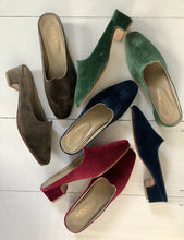 Load image into Gallery viewer, Women's Shoes - Charlotte Moss For Artemis - Emerald Velvet Moss Mules