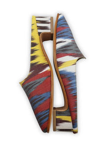 Women's Shoes - Charlotte Moss For Artemis - Silk Ikat Moss Mules, Size 38