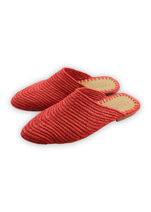 Women's Shoes - Raffia Babouche - Red