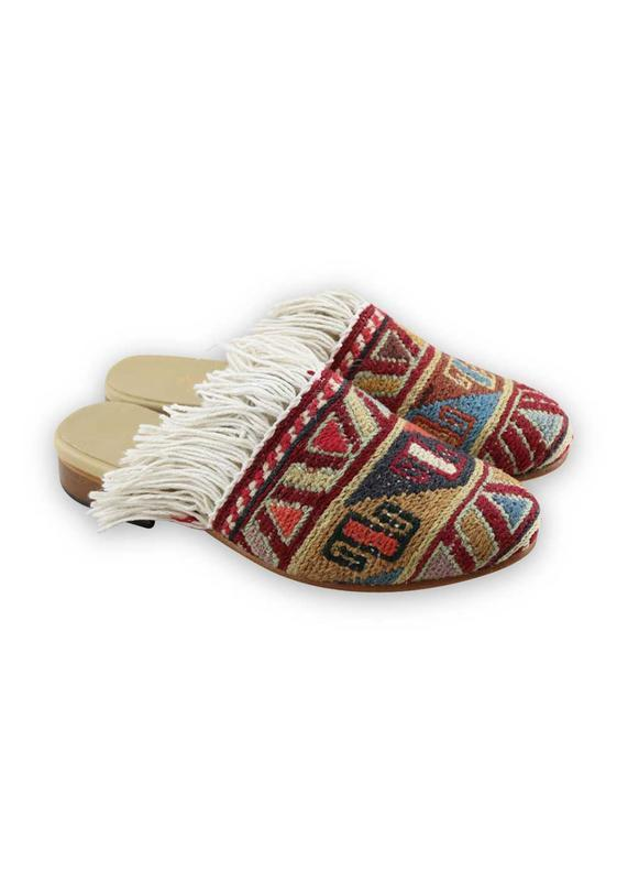Load image into Gallery viewer, Women's Shoes - Women's Fringe Sumak Kilim Slides - Size 36