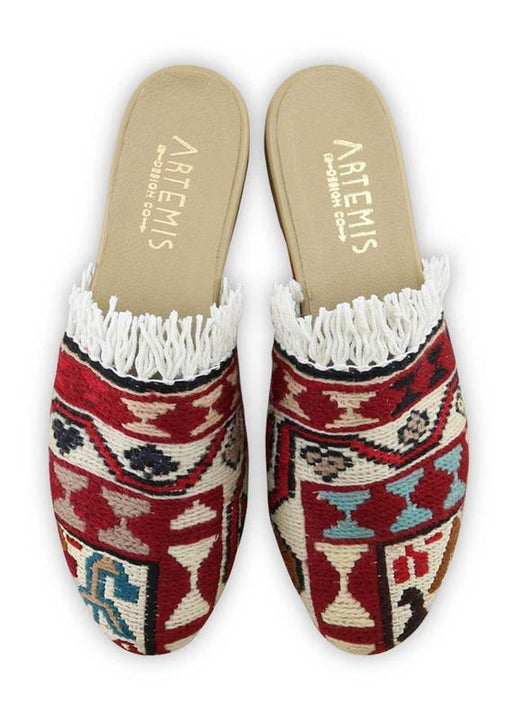 Women's Shoes - Women's Fringe Sumak Kilim Slides - Size 38