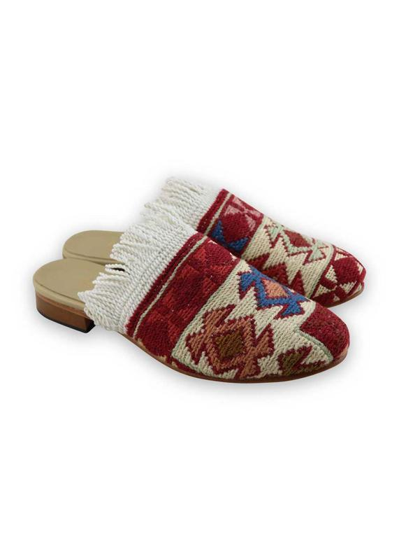 Load image into Gallery viewer, Women's Shoes - Women's Fringe Sumak Kilim Slides - Size 41