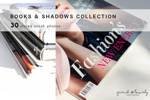 BOOKS & SHADOWS minimal white background bundle (30 styled stock photos) - Grand & Lovely Stock styled photography desktops lifestyle screens desktops stationary