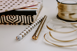 FREE Styled Stock Photo | Gold Desk stationary pens box string - Grand & Lovely Stock styled photography desktops lifestyle screens desktops stationary