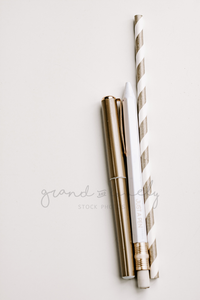 Gold Pens | Single Photo - Grand & Lovely Stock styled photography desktops lifestyle screens desktops stationary