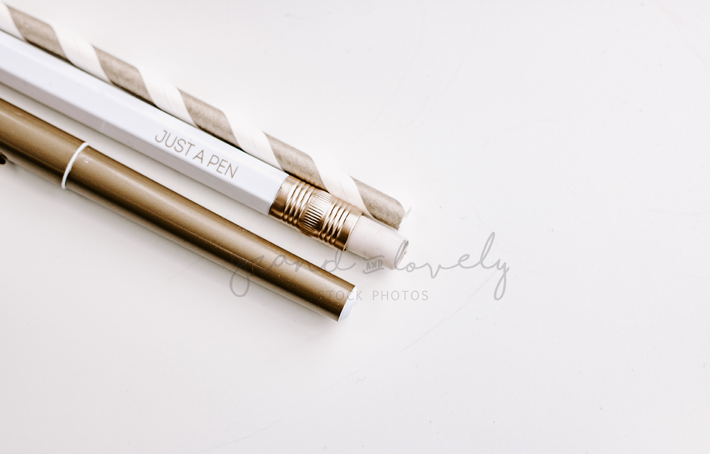 Gold Pens | landscape | Single Photo - Grand & Lovely Stock styled photography desktops lifestyle screens desktops stationary