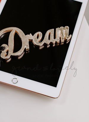 IPAD Dream Quote Flatlay | Single Photo + bonus - Grand & Lovely Stock styled photography desktops lifestyle screens desktops stationary