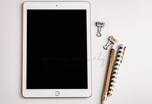 IPAD Gold Pens Mockup | Single Photo + bonus - Grand & Lovely Stock styled photography desktops lifestyle screens desktops stationary