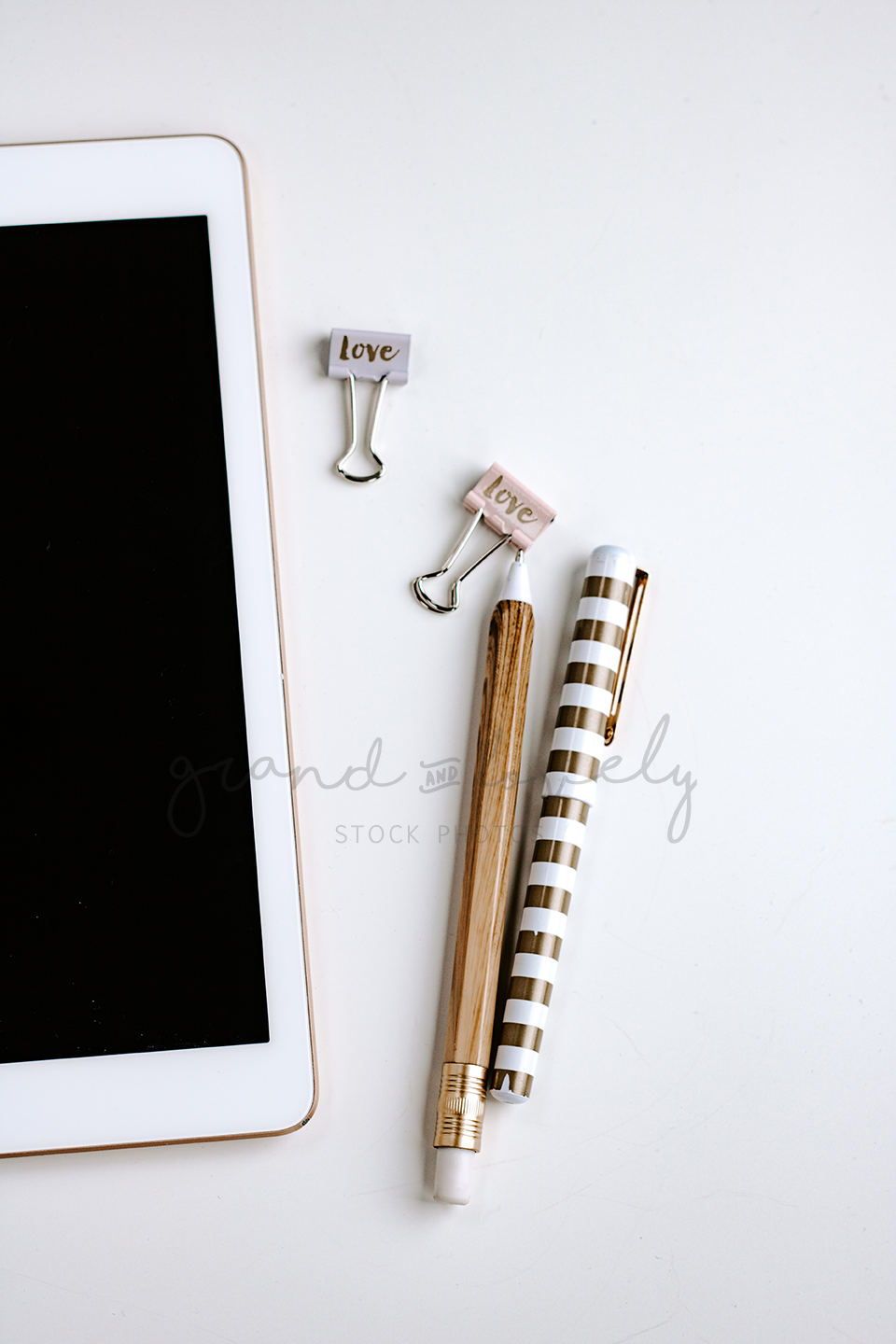 FREE Styled Stock Photo | IPAD Gold Pens white background - Grand & Lovely Stock styled photography desktops lifestyle screens desktops stationary